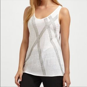 NWT Eileen Fisher Linen Beaded Tank Top White PL